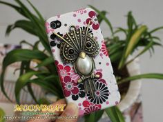 Pretty Flower Hard Case Cover With Antique Brass Owl  by moonboat, $9.99