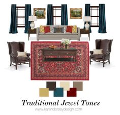 """Traditional Jewel Toned Living Room"" by karendorseydesign on Polyvore featuring interior, interiors, interior design, home, home decor, interior decorating, Threshold, Auguste, overstockArt and Pillow Perfect"