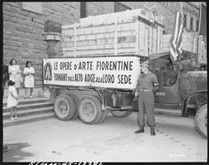 One of the trucks that transported the art treasures to Florence, Italy. The paintings had been stolen by the German Army and recovered by the US Army and returned to the city of Florence. Monument Men, German Army, Interesting History, Historical Pictures, Florence Italy, Old Pictures, World War Ii, Lovers Art, Wwii