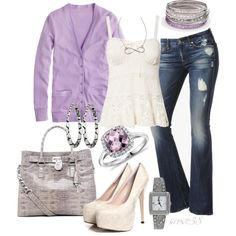 Lavender by srose38 on Polyvore featuring J.Crew, Denim & Supply by Ralph Lauren, 7 For All Mankind, MICHAEL Michael Kors, Blue Nile, Candie's and Erica Anenberg