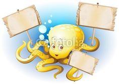 Cute #Cartoon #Octopus with #Wooden #Panels-#Vector © bluedarkat #31645883 - http://us.fotolia.com/id/31645883/partner/200929677