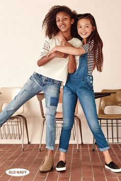 A girl's best friends for back to school season: lacy-sleeved tops, patchwork denim pants, striped shirts, and denim overalls.
