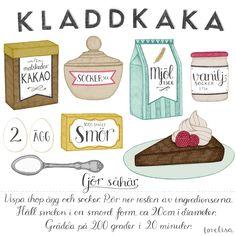 Kladdkaka Illustrated Recipe by Tovelisa Swedish Recipes, Sweet Recipes, Cake Recipes, Learn Swedish, Sugar Love, Cocktail Desserts, Fika, Brownie Bar, Everyday Food