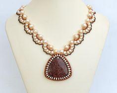 Coral fossil on festooned pearl chain N931 by Fleur-de-Irk.deviantart.com on @DeviantArt