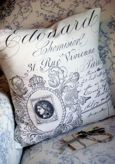 Pillow Coverthe Rue Vivienne Cotton and Burlap by JolieMarche, $35.00