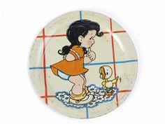 """Vintage Ohio Art tin litho plate girl duck 4-1/8"""" child's toy tea set pieces"""