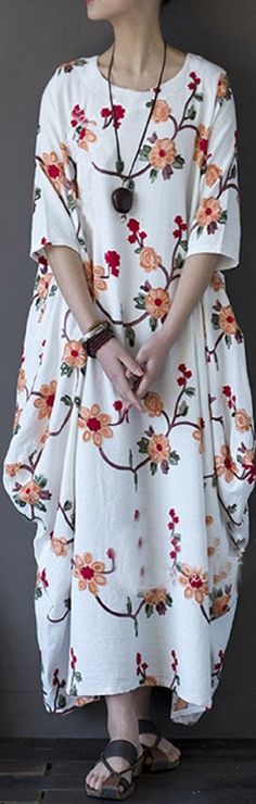 US$ 29.48 Vintage Floral Embroidered Irregular Half Sleeve O-neck Women Maxi Dress