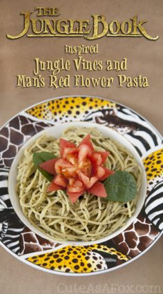 Jungle Book Inspired Jungle Vine and Man's Red Flower pasta is a fun dish that your whole family will love. Any other day you might call it pesto pasta with tomatoes, but sometimes you just need to have fun with your food. Click over and read The Jungle Book movie review and grab the recipe.