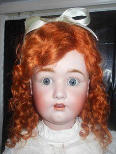 "Huge CHUNKY RARE 36"" Franz Schmidt Antique Doll Blue-Eyed Angel w/ Antique Dress"