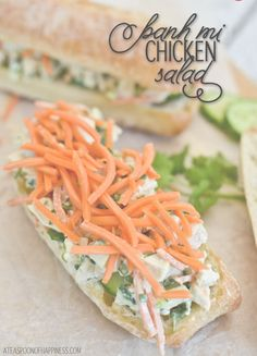 Banh Mi Chicken Salad Sandwiches, from www.ATeaspoonofHappiness.com. These little sandwiches satisfy even the biggest of appetites! And, to give this recipe that perfect bite every time, spread on the Hellmann's Mayonnaise.