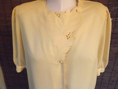 Vintage Buttercup Yellow Near Sheer Embroidered by Calliopegirl, $22.00