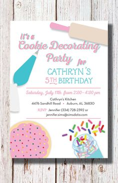 Each of these cute cookie decorating birthday party invitations is cookie decorating birthday party invitation stopboris Image collections