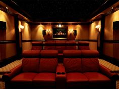 The award-winning Klipsch THX custom home theater system brings real cine. The award-winning Klipsch THX custom home theater system brings real cinema sound to the com Home Theater Basement, Home Cinema Room, Home Theater Decor, At Home Movie Theater, Best Home Theater, Home Theater Rooms, Home Theater Seating, Home Theater Design, Basement Ideas