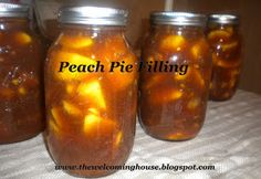 For all my fresh from E. The Welcoming House: More Peach-y Goodness---A Canning recipe for Peach Pie filling Canning Peaches, Canning Pickles, Canning Peach Pie Filling, Canning Food Preservation, Preserving Food, Peach Pie Recipes, Canned Food Storage, Beach Meals, Canning Recipes