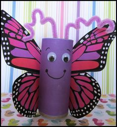 Butterfly craft with TP roll, there is a printable for the wings, but kids could color or make their own, too.
