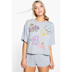 Boohoo Evie Patch Print Tee And Short PJ Set ($20) ❤ liked on Polyvore featuring intimates, sleepwear, pajamas, grey, short pajamas, short pyjamas, short sleepwear and short pajama set