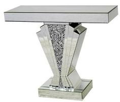 mirrored console table in many sizes and styles. silver mirror, mirror and wood, smoked grey and many many Glazing Furniture, Glass Furniture, Glitter Furniture, Mirrored Bedroom Furniture, Dining Room Table Decor, Glass Vanity, Trident, Coffee Table Design, Console Tables