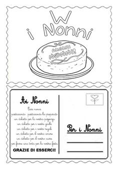 Cartolina nonni Grandparents Day, Fathers Day, Coloring Books, Crafts For Kids, Paper Crafts, Classroom, Free Printables, Education, School