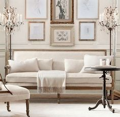 Add centre chandelier on formal living room. Linen sofa, have multiple paintings on wall. Ivory Living Room, Formal Living Rooms, Living Room Decor, Living Spaces, Dining Room, Boho Home, White Rooms, White Walls, Inspired Homes