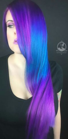 Purple blue dyed hair @bottleblonde76