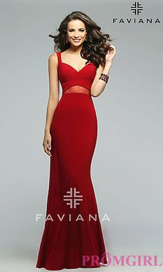 Floor Length V-neck Prom Dress by Faviana at PromGirl.com
