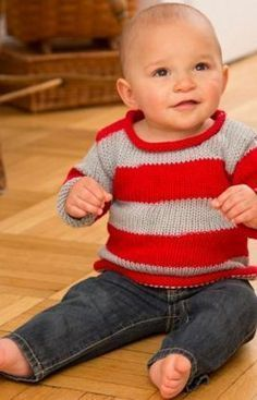 Get back to basics with Babys Striped Pullover. This bold knit pullover pattern is a perfect garment for the sporty baby on the go.