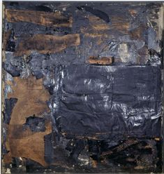 Robert Rauschenberg, Untitled [black painting with portal form], 1952-53, Oil and newspaper on canvas, 129.9 x 137.8 cm