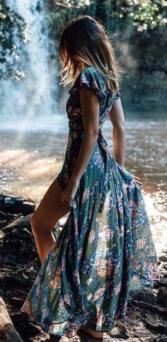 Beautiful Chiffon Floral Spring Slit Maxi Dress