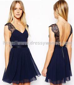 Blue Backless V-neck Lace and Chiffon Homecoming Dress,Blue Backless V-neck Lace and Chiffon Homecoming Dress,Blue Backless V-neck Lace and Chiffon Homecoming Dress