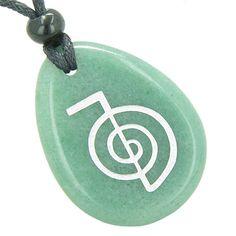 Tibetan Life Energy Power ChoKu Ray Reiki Green Quartz Pendant Necklace