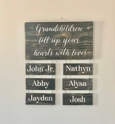 grandchildren-fill-up-your-hearts-with-love-custom-grandchildren-name-sign-personalized-gift-for-grandparents-mothers-day-gift/ - The world's most private search engine Personalized Gifts For Grandparents, Personalized Signs, Grandkids Sign, Create Floor Plan, Floor Plan Drawing, Front Porch Signs, Custom Wood Signs, Hand Painted Signs, Name Signs