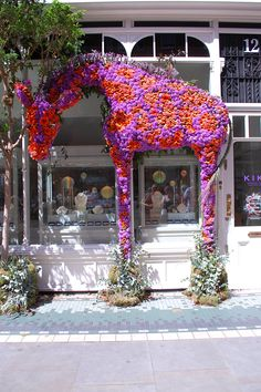 Be dazzled by colourful flowers, innovative garden designs and amazing exhibits at the prestigious Chelsea Flower Show. Discover ways to soak up the atmosphere around Chelsea. Visual Merchandising Displays, Visual Display, Store Window Displays, Retail Windows, Shop Fronts, Arte Floral, Window Design, Retail Design, Floral Arrangements