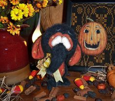 "Primitive Halloween Black Elephant Bear 5"" Witch Doll Vtg Patti's Ratties OOAK"