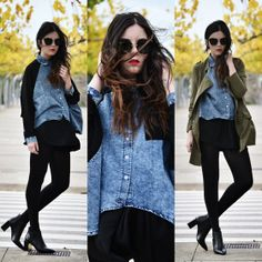 Chiffon Sleeve High-low Denim Shirt - OASAP.com