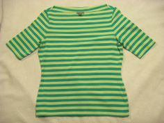 ANN TAYLOR M Womens Top STRETCH Boatneck Green Striped Short Sleeve Cruise #AnnTaylor #KnitTop #Casual