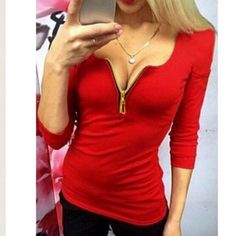 Sexy Low Cut Zippered T-Shirt Adorable top! Would be perfect for Christmas 🎄 Tops Tees - Long Sleeve