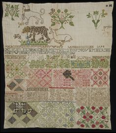 Sampler from 1598. This is the earliest dated British sampler to have survived, and its inscription commemorates the birth of a child, Alice Lee, two years earlier. Its maker, Jane Bostocke, who is known to have been a cousin of Alice's and was buried in the village where she lived, may have lived in the Lee family household.