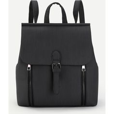 SheIn(sheinside) Buckle Front Double Zipper PU Backpack (105 RON) ❤ liked on Polyvore featuring bags, backpacks, backpack, black, backpack bags, buckle backpacks, polyurethane bags, pu backpack and day pack backpack