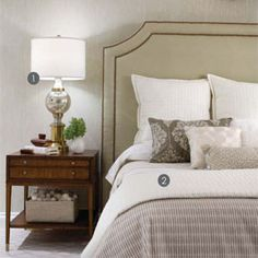 monochromatic bedroom - Candace Olsen.  Walls either Grant Beige or Soft Chamois (Ben Moore Paints)