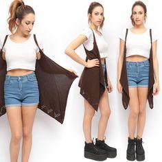 Brown Chunky Open Knit Suspender Hippie Long Sweater Vest | eBay