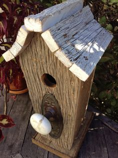 Barn Wood Birdhouse with Vintage Doorknob and Backplate by SoilandSawdust on Etsy