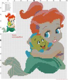 Bébé Ariel avec Flounder grille point de croix
