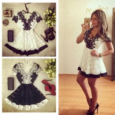 Find More Dresses Information about 2016 New fashion women lace mini dress white and black V neck short sleeve dresses casual sexy A line dress,High Quality dress up dress,China dress vans Suppliers, Cheap dress aqua from Fashion Style 2016 on Aliexpress.com