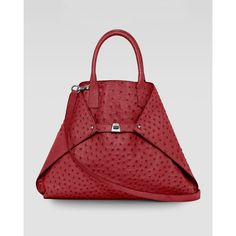 Akris Ai Ostrich Tote Bag, Medium ($4,800) ❤ liked on Polyvore