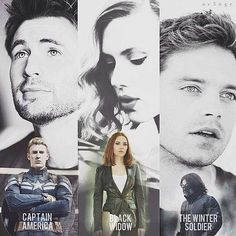 """Captain America , Black Widow et Buck """"le soldat de l'hiver"""" , super-héros au cinéma"""