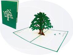 Aufklappbare POP UP Geburtstagskarte mit Baum. Mehr entdecken auf: www.lin-popupkarten.de Pop Up 3d, Pop Up Karten, Life, Gift Cards, Holiday, Tree Structure, Birth