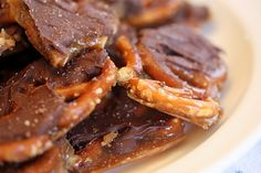 Salted caramel chocolate pretzel bark. (Big mistake...I bought cheap chocolate and it didn't melt! I know better!!!)