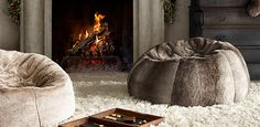 """Luxe Faux Fur Bean Bags. 50"""" Round x 24"""" High   Restoration Hardware"""