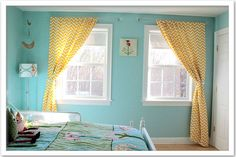 Yellow chevron curtains for blue living room!  It's official, i'm doing our livingroom in Grey. Blue and yellow!