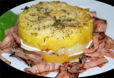 Montadito de piña, lacón y queso de cabra